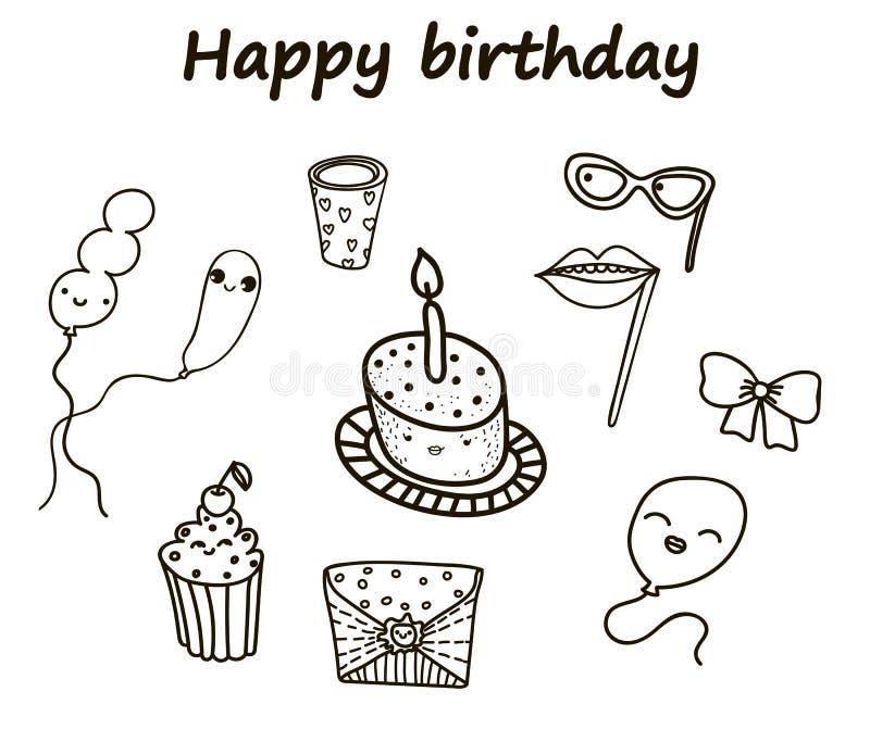 Conjunto del feliz cumpleaños ilustración del vector