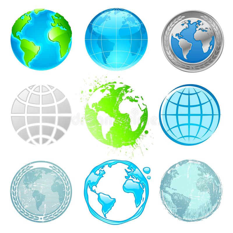 Conjunto del globo y de la tierra stock de ilustración