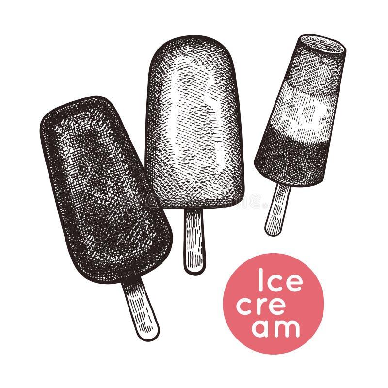 Conjunto del helado stock de ilustración