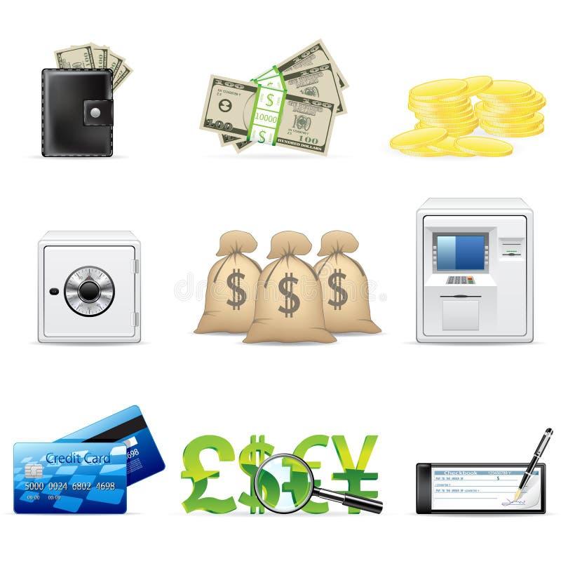 Conjunto del icono de la actividad bancaria y de las finanzas stock de ilustración