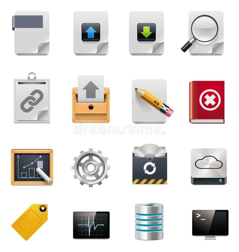 Conjunto del icono de la administración del servidor de archivos del vector ilustración del vector