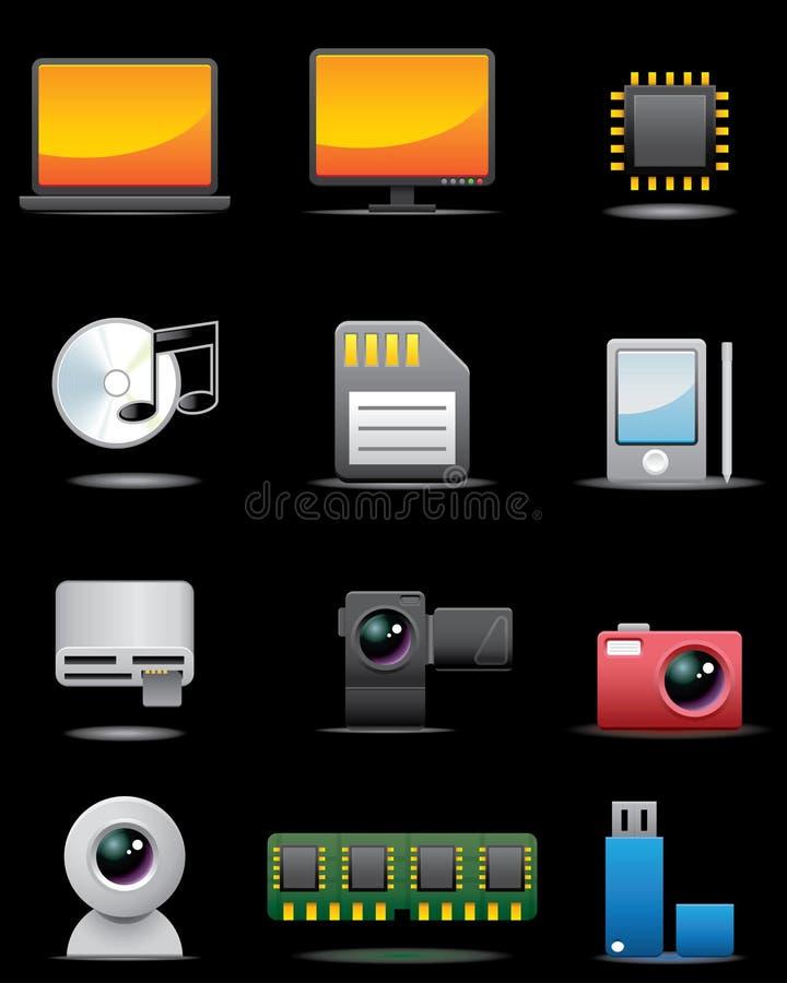 Conjunto del icono de la aplicación eléctrica de Digitaces -- S superior stock de ilustración