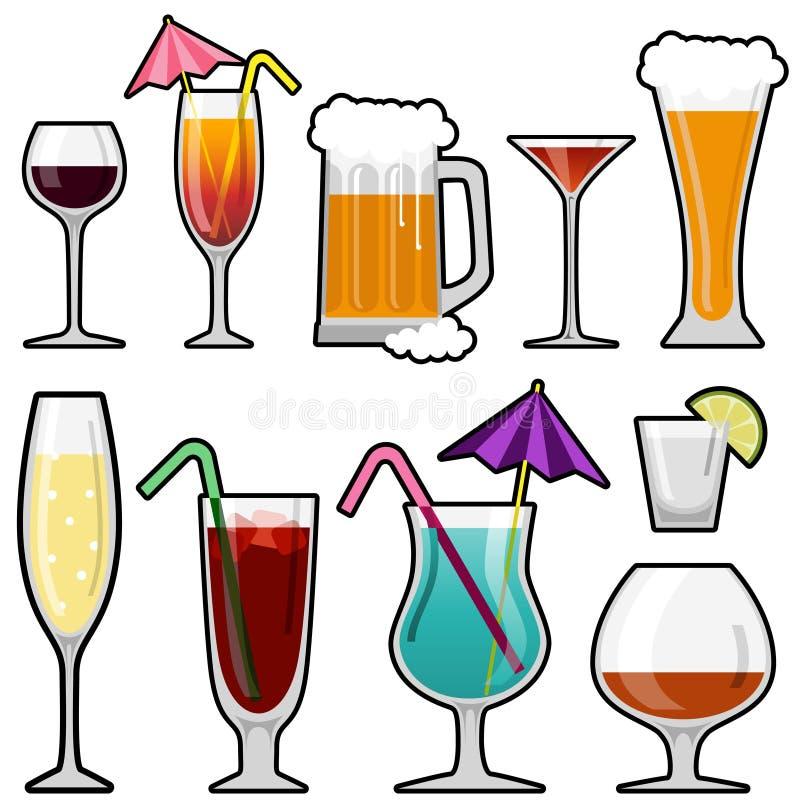 Conjunto del icono de la bebida del alcohol stock de ilustración