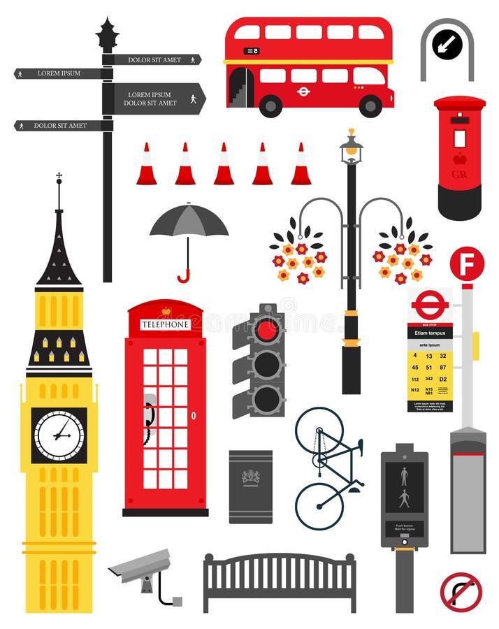 Conjunto del icono de la calle de la ciudad de Londres ilustración del vector