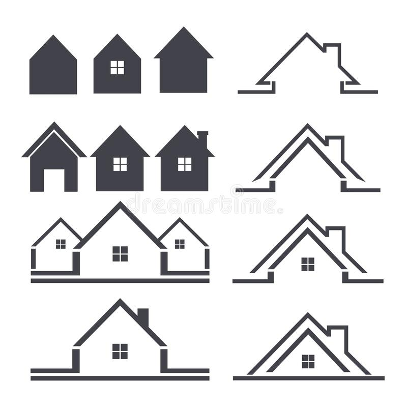 Conjunto del icono de la casa stock de ilustración