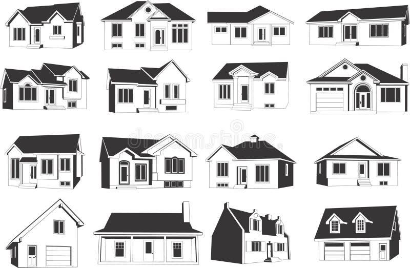 Conjunto del icono de la casa imagen de archivo libre de regalías