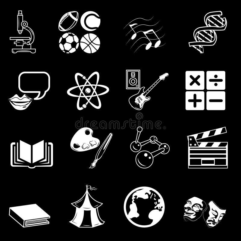 Conjunto del icono de la categoría sujeta ilustración del vector