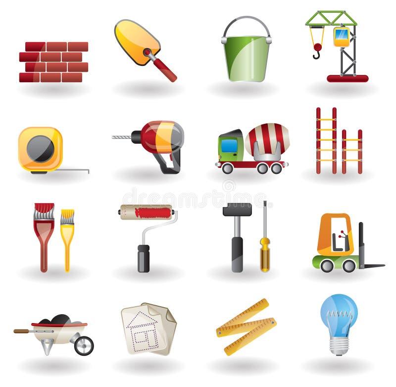 Conjunto del icono de la construcción y del edificio. ilustración del vector