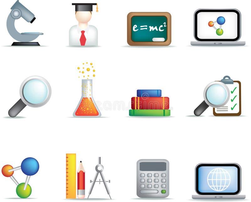 Conjunto del icono de la educación y de la ciencia ilustración del vector