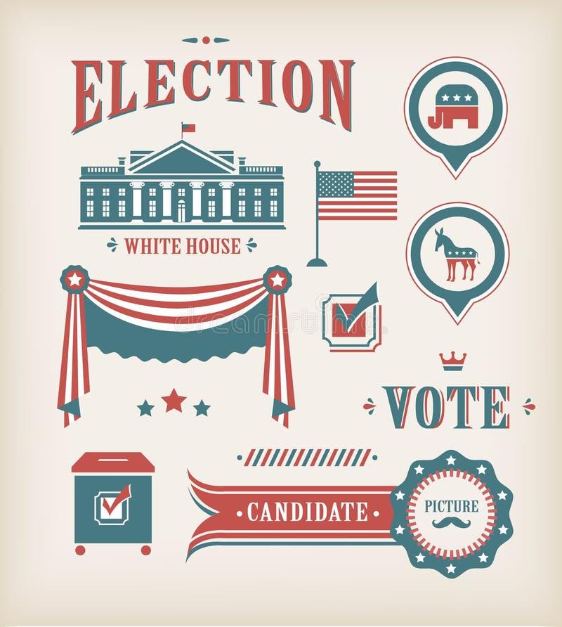 Conjunto del icono de la elección de los E.E.U.U. ilustración del vector