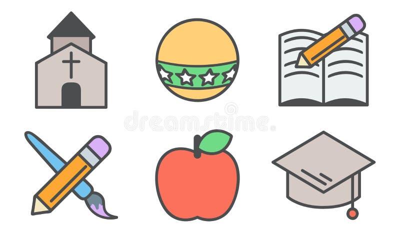 Conjunto del icono de la escuela stock de ilustración