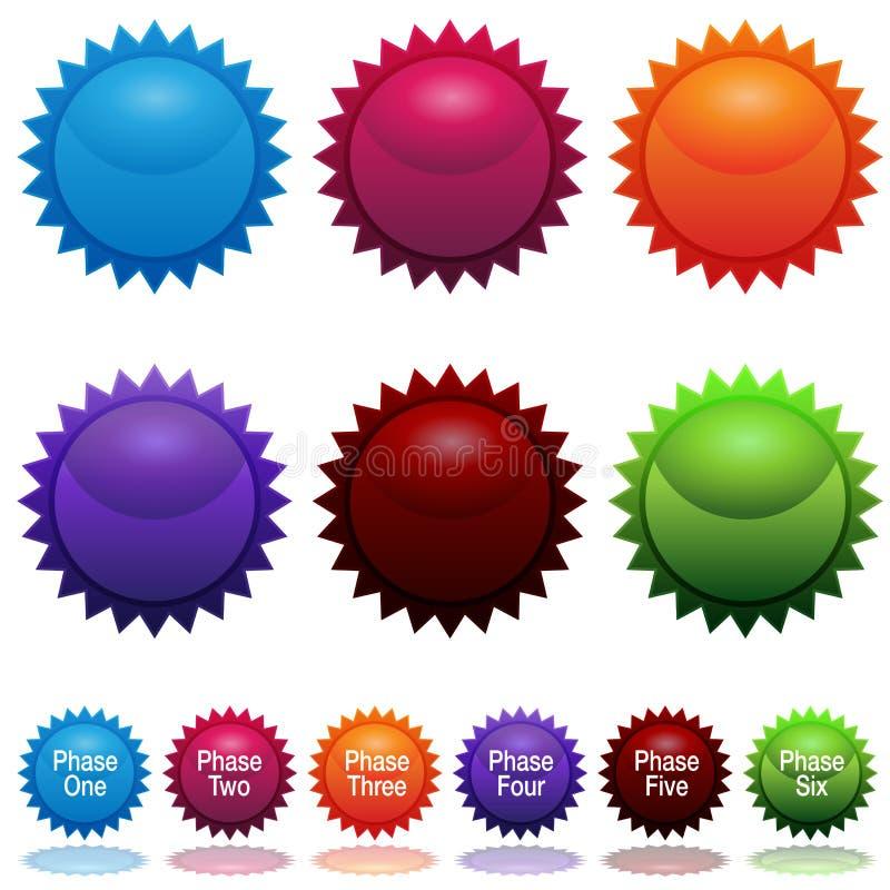 Conjunto del icono de la etiqueta engomada de la estrella de Sun de la fase stock de ilustración