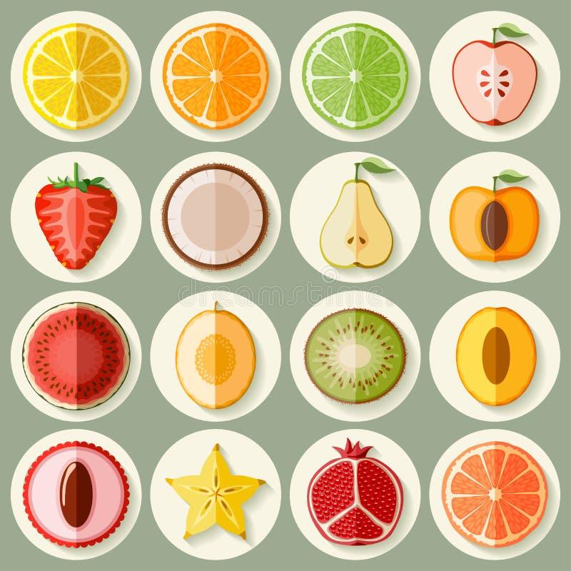 Conjunto del icono de la fruta stock de ilustración