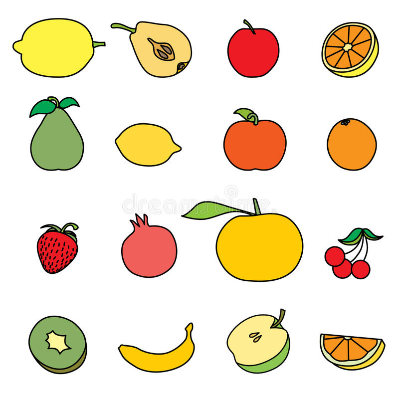 Conjunto del icono de la fruta ilustración del vector