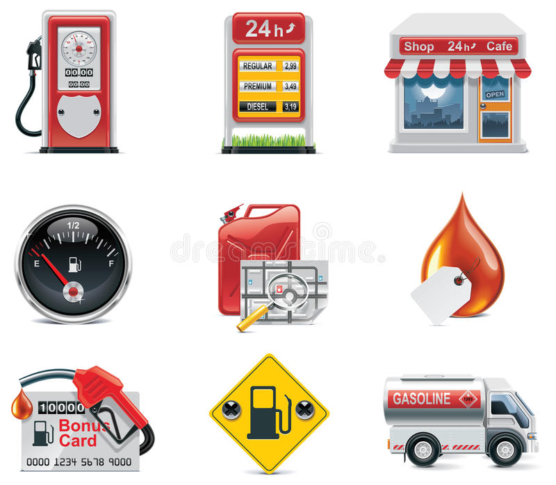 Conjunto del icono de la gasolinera del vector libre illustration
