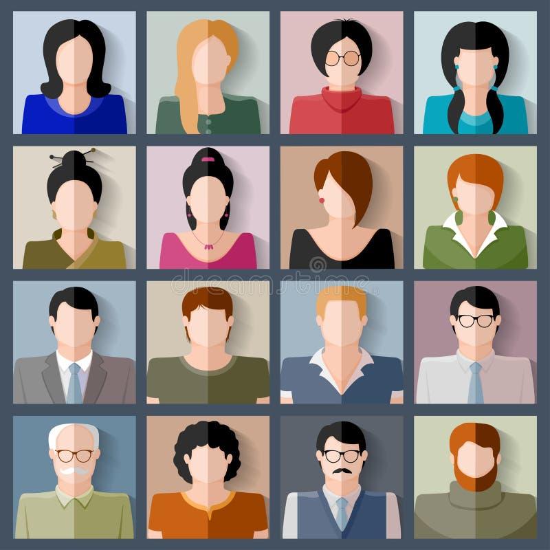 Conjunto del icono de la gente stock de ilustración