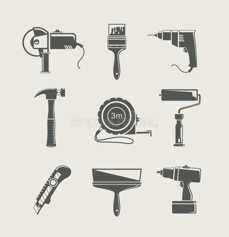 Conjunto del icono de la herramienta del edificio stock de ilustración