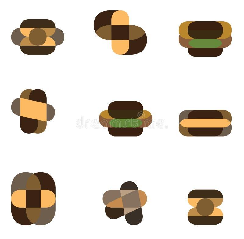 Conjunto del icono de la insignia stock de ilustración