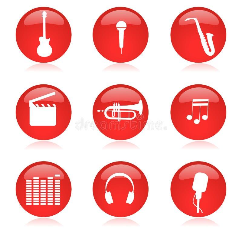 Conjunto del icono de la música ilustración del vector