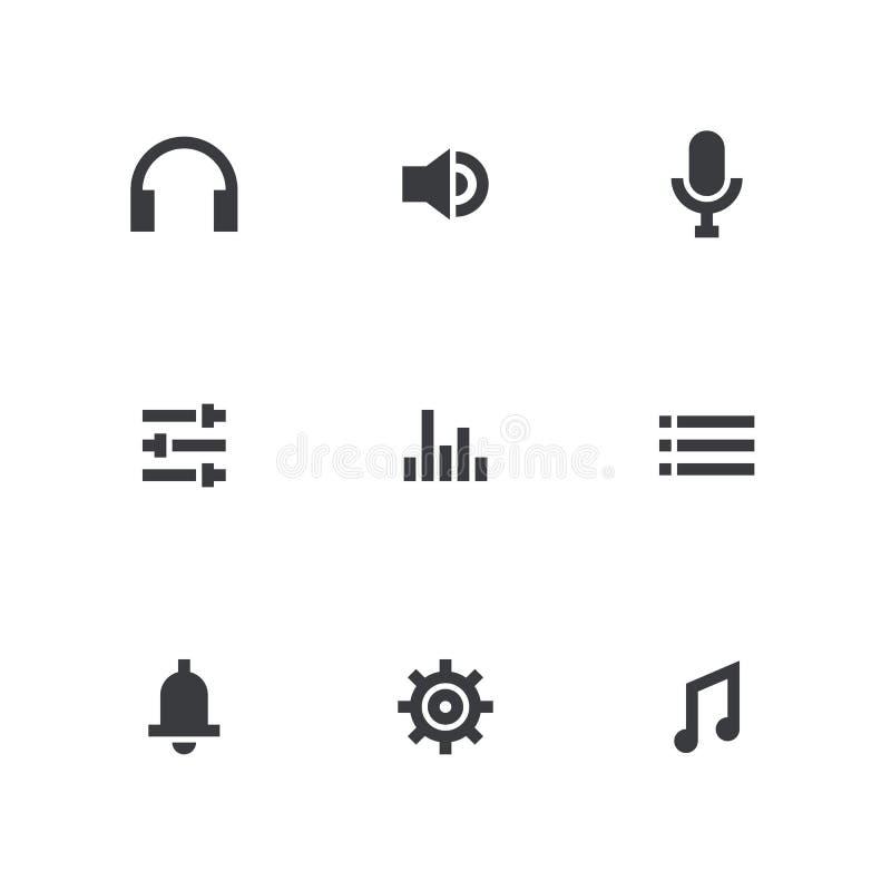Conjunto del icono de la música Engrana el icono Símbolo sano Muestra audio Botón del interfaz ilustración del vector