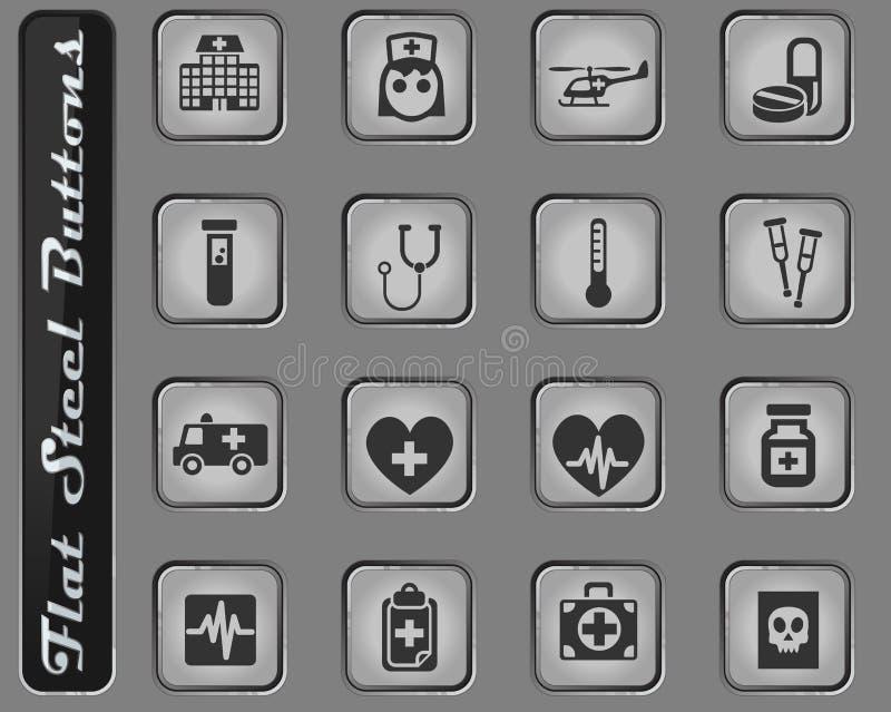 Conjunto del icono de la medicina ilustración del vector
