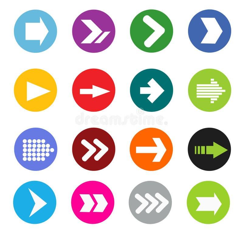 Conjunto del icono de la muestra de la flecha fotos de archivo