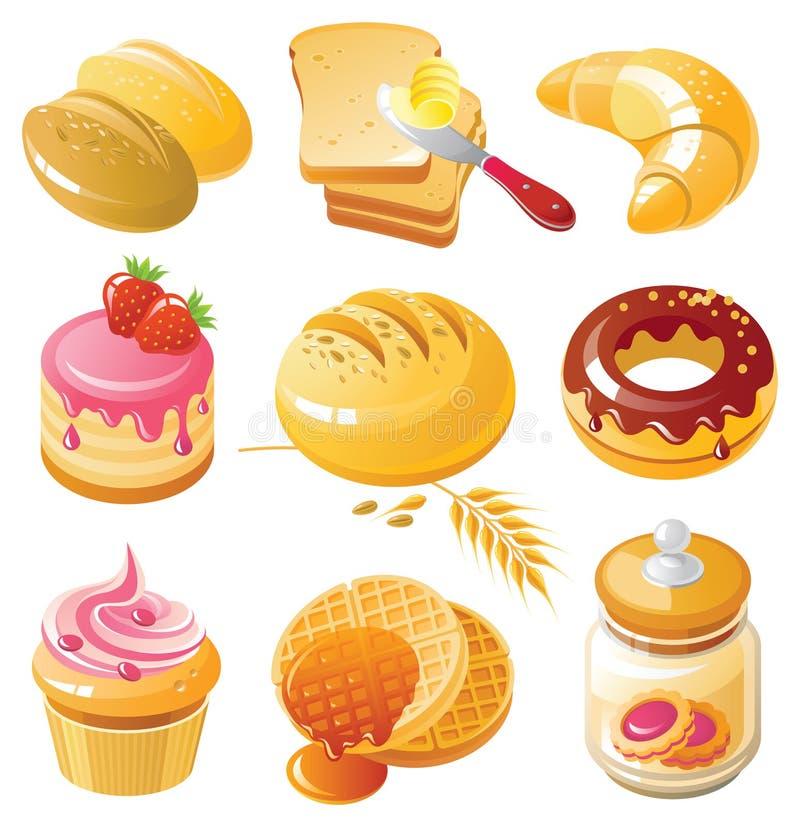 Conjunto del icono de la panadería fotos de archivo libres de regalías