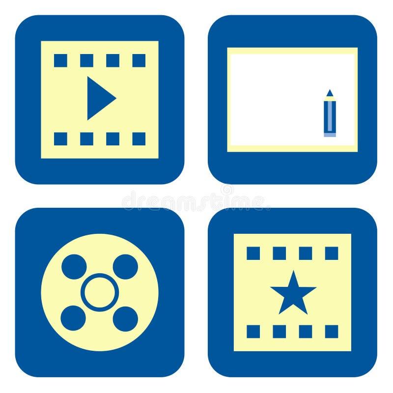 Conjunto del icono de la película stock de ilustración
