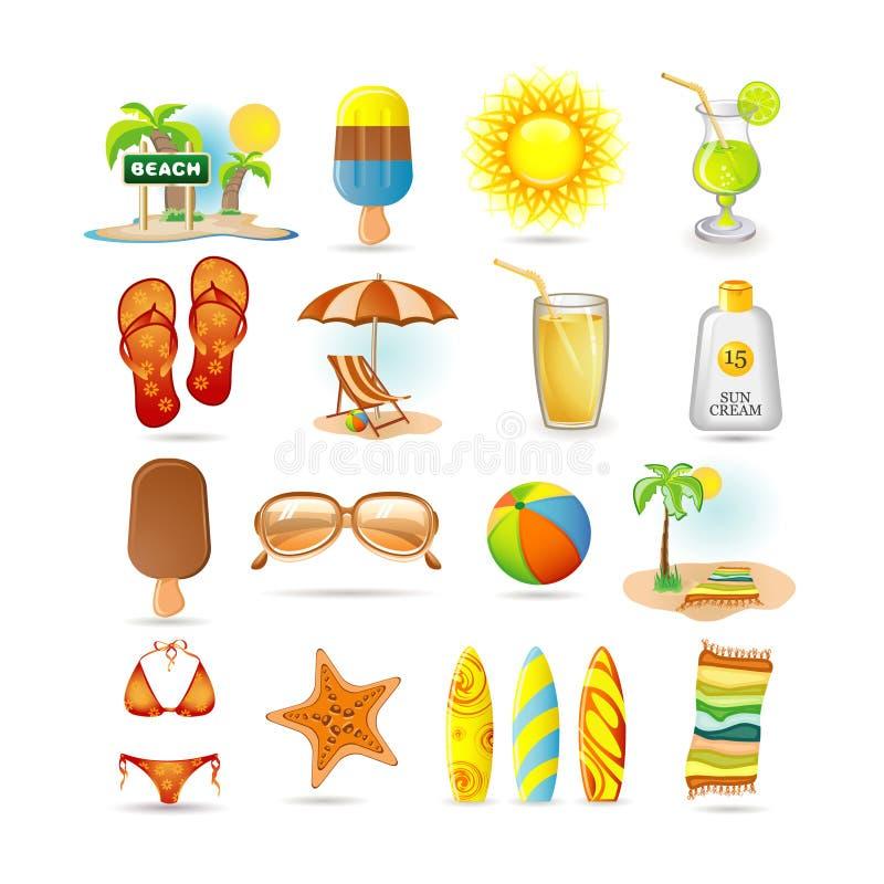 Conjunto del icono de la playa stock de ilustración