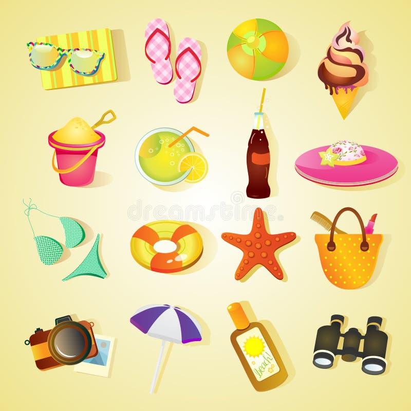 Conjunto del icono de la playa ilustración del vector