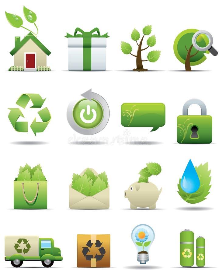 Conjunto del icono de la protección del medio ambiente -- Serie superior stock de ilustración