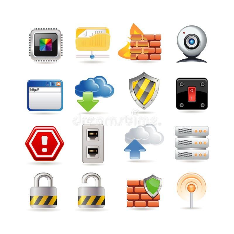 Conjunto del icono de la red de ordenadores stock de ilustración