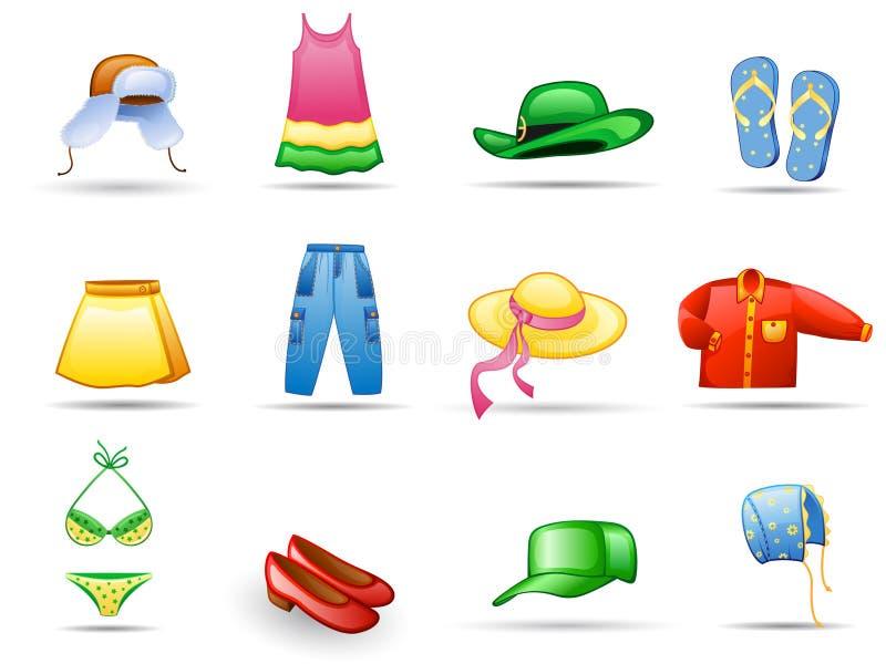 Conjunto del icono de la ropa libre illustration