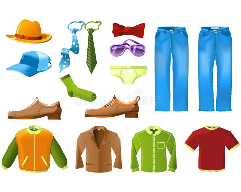 Conjunto del icono de la ropa de los hombres ilustración del vector