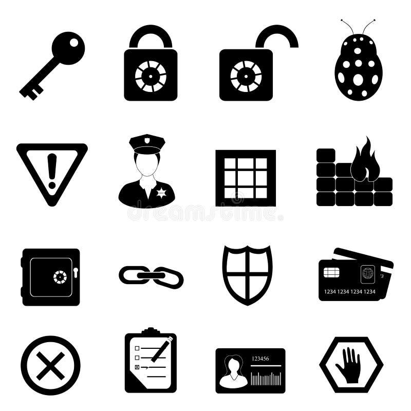 Conjunto del icono de la seguridad y de la seguridad ilustración del vector
