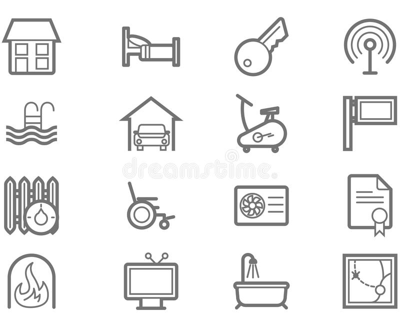 Conjunto del icono de las amenidades de la comodidad ilustración del vector