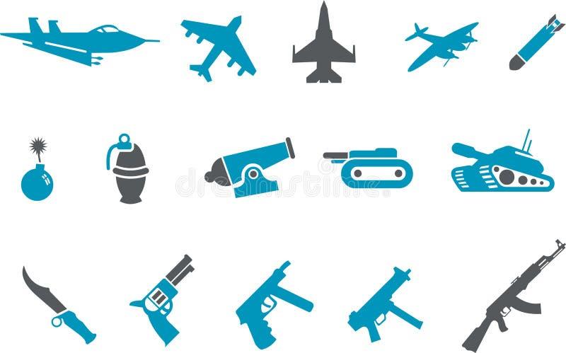 Conjunto del icono de las armas stock de ilustración