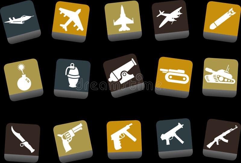 Conjunto del icono de las armas ilustración del vector