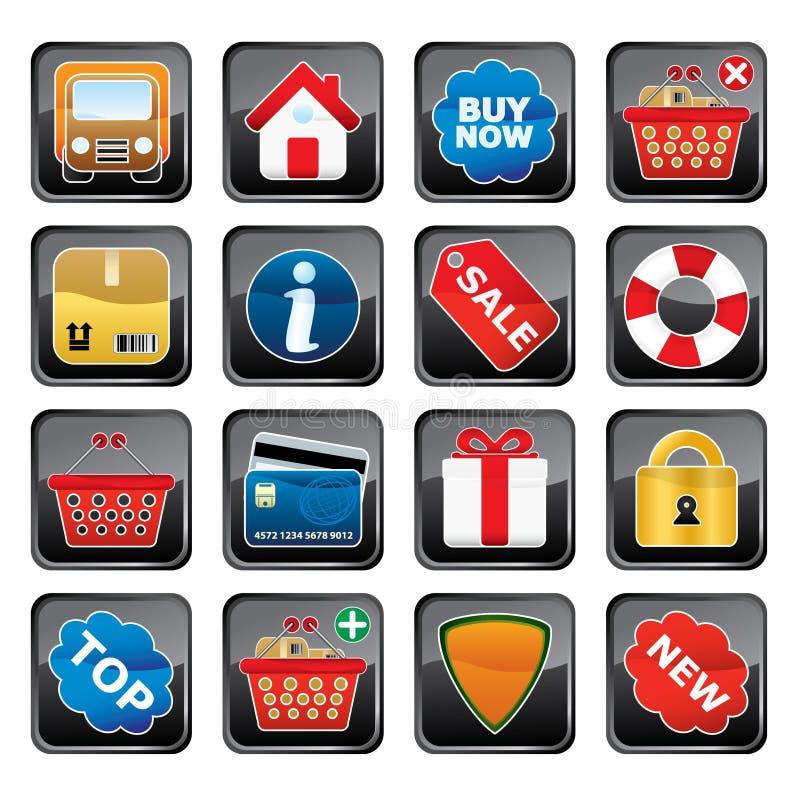 Conjunto del icono de las compras stock de ilustración