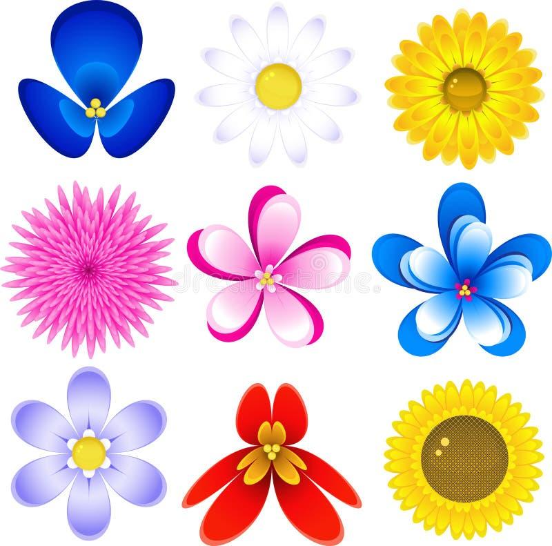 Conjunto del icono de las flores stock de ilustración