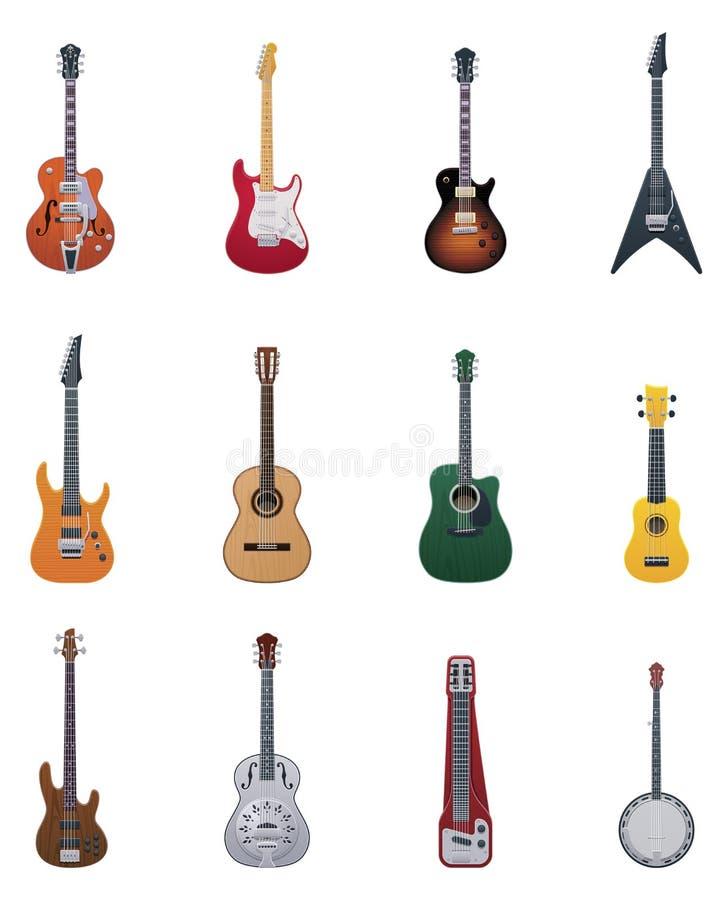Conjunto del icono de las guitarras del vector ilustración del vector
