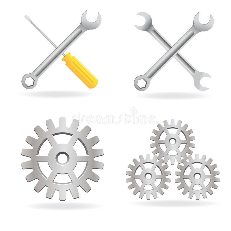 Conjunto del icono de las herramientas stock de ilustración