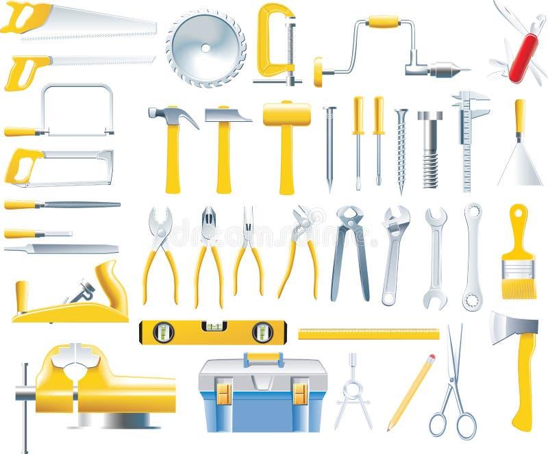 Conjunto del icono de las herramientas del carpintero del vector libre illustration