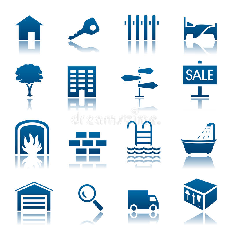 Conjunto del icono de las propiedades inmobiliarias ilustración del vector