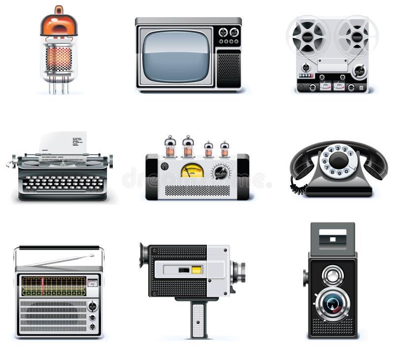 Conjunto del icono de las tecnologías de la vendimia libre illustration