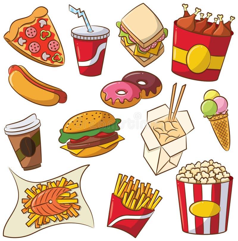 Conjunto del icono de los alimentos de preparación rápida stock de ilustración