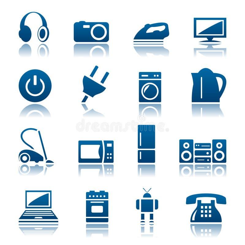 Conjunto del icono de los aparatos electrodomésticos ilustración del vector