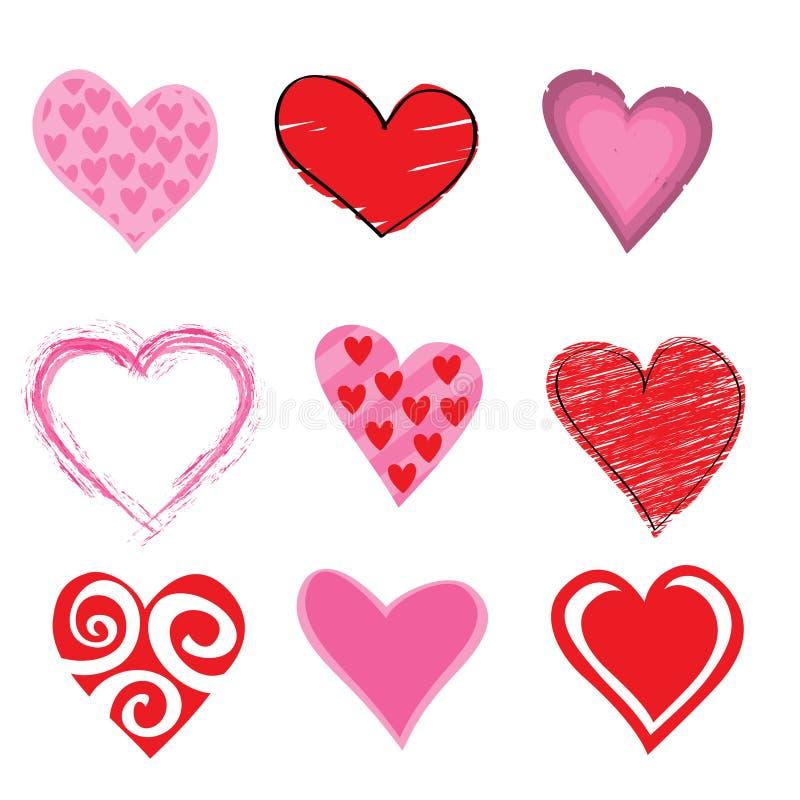 Conjunto del icono de los corazones ilustración del vector