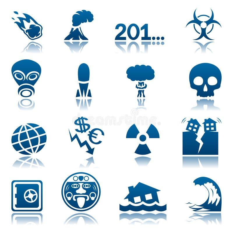 Conjunto del icono de los desastres apocalípticos y naturales libre illustration