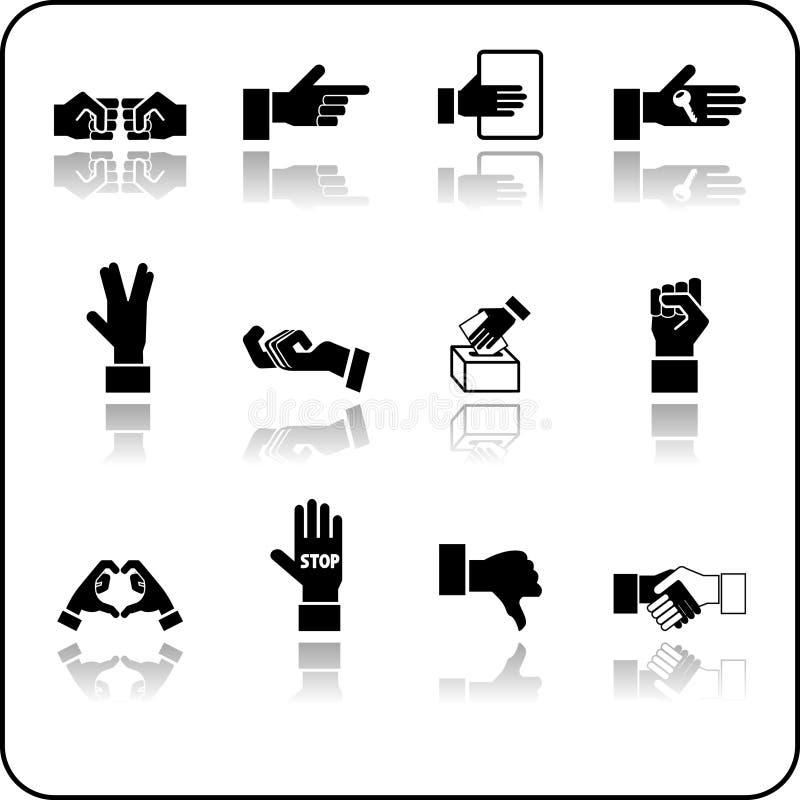Conjunto del icono de los elementos de la mano ilustración del vector